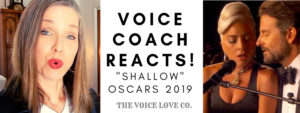 "Lady Gaga and Bradley Cooper share a mic to sing ""Shallow"" best song from 2019 Academy Awards while voice Coach Christi Bovee reacts to this mesmerizing performance."