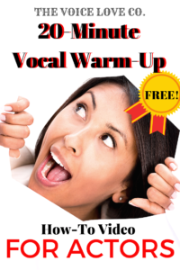 "A female actor breaks through to peek through a hole in the middle. Her mouth is open as if to say a hearty, ""Hey!"". The Voice Love Co. presents a free 20-minute how-to video on Warm-Ups for Actors."