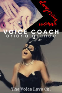 Voice Coach Christi Bovee peeks through her hand at Ariana Grande singing Dangerous Woman while dressed in a black patent vinyl masked bunny outfit. Watch this Voice Coach's reaction HERE at The Voice Love Co.