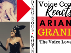 Voice Coach Christi Bovee looks surprised as Ariana Grande sings Dangerous Woman while wearing a shiny black masked bunny outfit. Voice coach reacts to Dangerous Woman by Ariana Grande from The Voice Love Co.