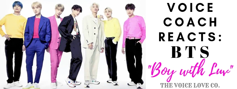 "South Korean boy band, BTS, pose for the camera while wearing bright colors. Voice Coach Reacts: BTS, ""Boy with Luv"" here at The Voice Love Co."