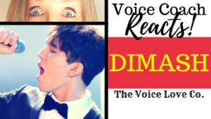 Voice coach Christi Bovee looks wide eyed at Dimash singing into a microphone. Voice Coach Reacts! Dimash! Here at The Voice Love Co.