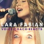 Lara Fabian sings into a microphone while veteran voice coach Christi Bovee looks amazed. Voice Coach Reacts video here at The Voice Love Co.