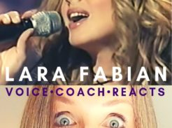 Veteran voice coach Christi Bovee looks amazed as Lara Fabian sings into a microphone HERE at The Voice Love Co.