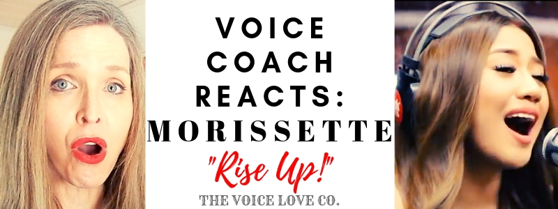 "Veteran voice coach, Christi Bovee, sits with mouth agape and eyes wide as Morissette, Asia's Phoenix, sings into a microphone. Voice Coach Reacts: Morissette singing ""Rise Up!"""