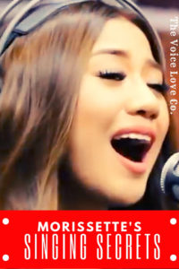 Morissette Amon, Asia's Phoenix, sings into a microphone. Morissette's Singing Secrets here at The Voice Love Co.