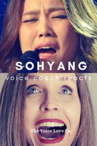 Sohyang sings into the mic while veteran voice coach Christi Bovee looks at her in awe. Voice Coach Reacts to Sohyang singing Bridge Over Troubled Water here at The Voice Love Co.