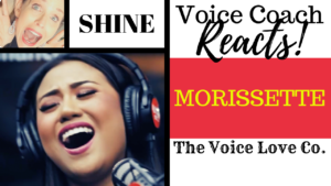 "Morissette Amon sings into a microphone with a smile. Christi Bovee, veteran voice teacher smiles. Text reads: Voice Coach Reacts. Morissette singing ""SHINE"" here at The Voice Love Co."