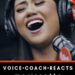 "Morissette Amon sings into a microphone with a smile. Text reads: Voice Coach Reacts. Morissette singing ""SHINE"" here at The Voice Love Co."